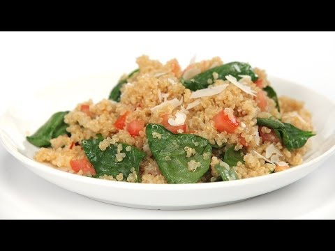 How to Cook Quinoa with Roasted Garlic, Tomatoes and Spinach