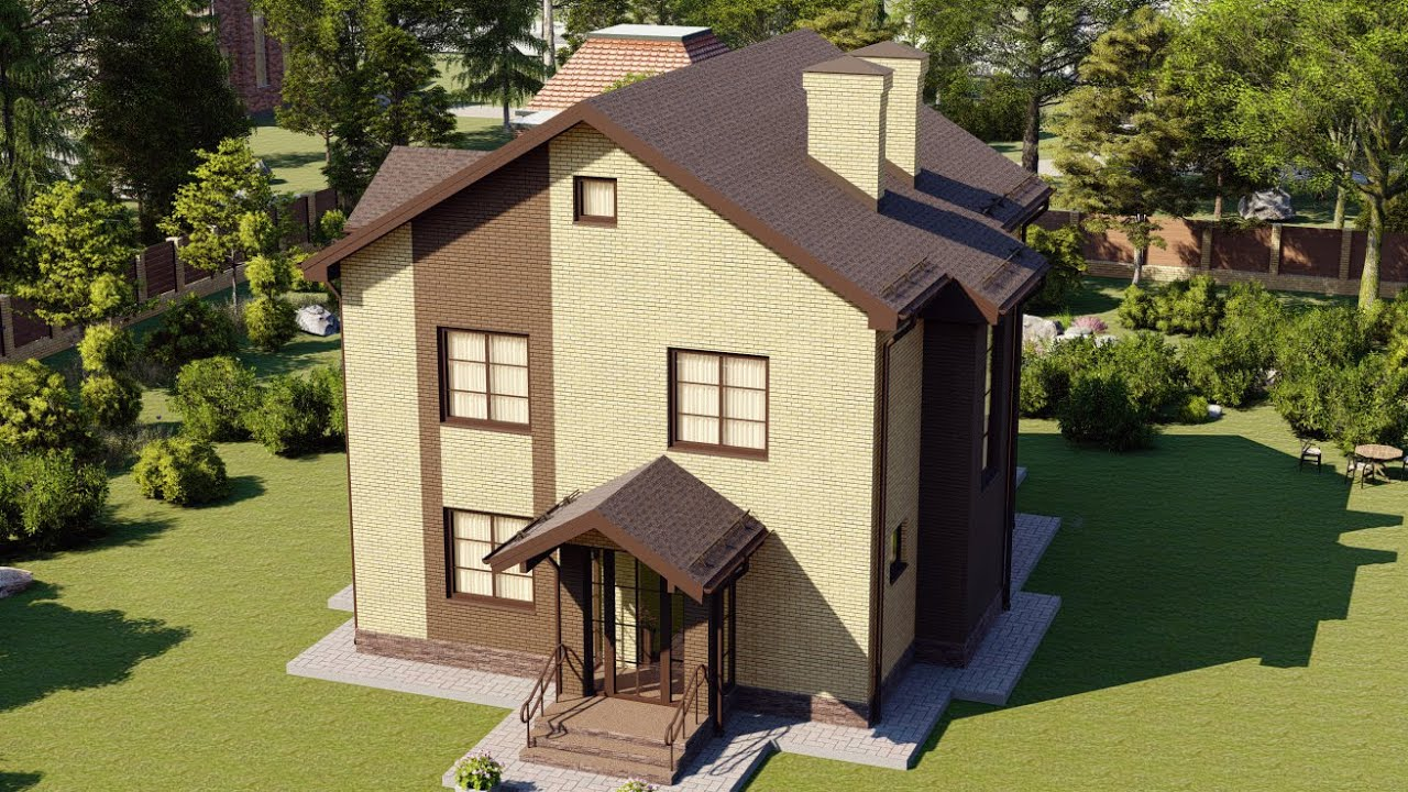 Проект двухэтажного дома 9 на 10 площадью 159 кв м
