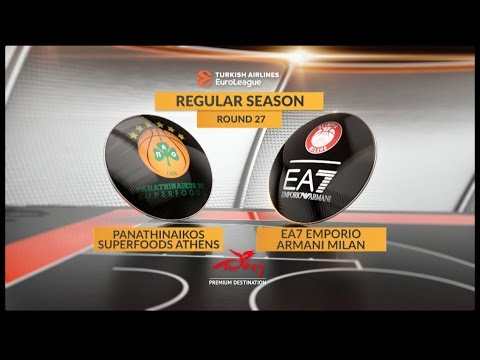 EuroLeague Highlights RS Round 27: Panathinaikos Superfoods Athens 74-61 EA7 Emporio Armani Milan