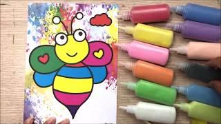 Bộ tô màu tranh cát có 12 ống cát màu và 12 tranh cát siêu đẹp / Sand painting toys (Chim Xinh)