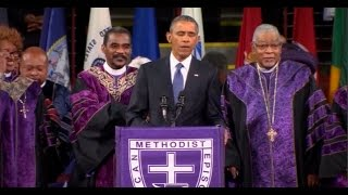 Obama Breaks Out In Song During His Eulogy For Reverend Pinckney; Pool Reuters