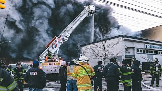 [ Queens 3rd Alarm Box 4302 ] Massive Factory Blaze in -14f Weather; Partial Collapse