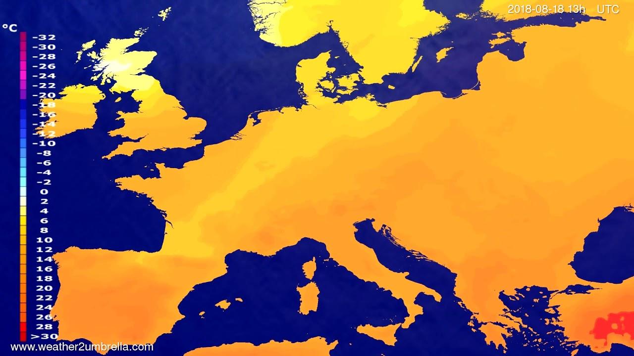 Temperature forecast Europe 2018-08-15
