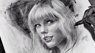 Taylor Swift - Charcoal Speed Drawing Timelapse @Taylor Swift