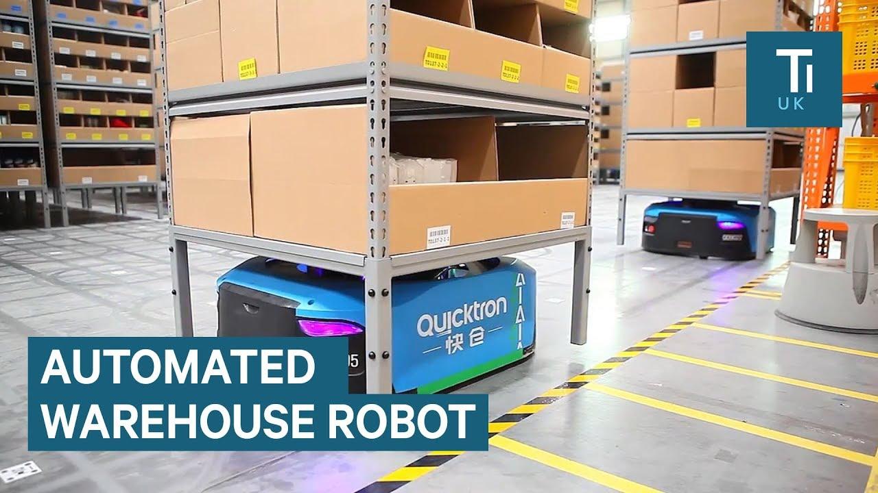 Besisukantys robotai Alibaba sandėlyje. Jų dėka žmonės turi mažiau darbo