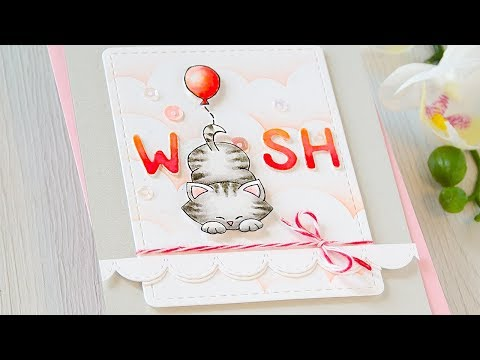WISH Card Watercolored With Tombow Markers