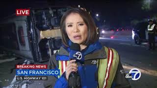 Dozens injured in San Francisco bus crash on SB 101, traffic snarled