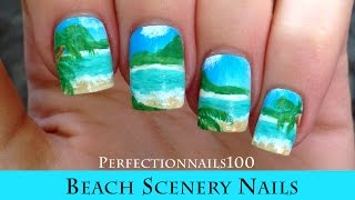 Nail Art Beach Scenery Nails Tutorial Done Freehand