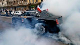 RTV. Strajk Kobiet – palenie gumy, płonąca tarcza. Taksówkarze zablokowali Al.Jerozolimskie 28.10.2020r.