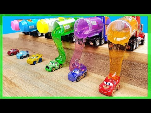 Disney Cars 3 Learn Colors With Mini Racers  Mack Truck Slime Delivery Lightning Mcqueen Mud Bath