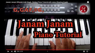 Janam Janam (Dilwale) Arijit singh - Perfect Piano Tutorial with notes(stephen frank)