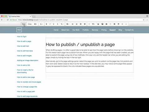 How to publish / unpublish a page