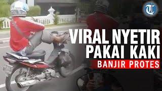 Viral Video Pria Nyetir Motor Pakai Kaki di Jalanan, Begini Nasibnya di Kantor Polisi