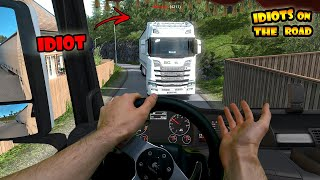 ★ IDIOTS on the road #74 - with REAL Hands   Funny moments - ETS2 Multiplayer