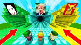 NO ENTRES AL TUNEL EQUIVOCADO EN MINECRAFT !! JEFF THE KILLER TRUMP Y PIKACHU.EXE EN MINECRAFT