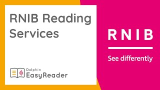 Access RNIB Reading Services, with the FREE EasyReader App!