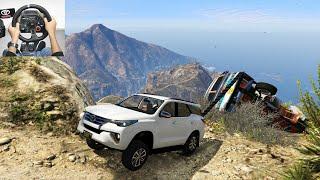 GTA5   Toyota Fortuner Towing Crash Lorry on Mountain   Realistic Off-Roading   Logitechg29 Wheel
