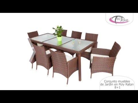 TecTake - Conjunto muebles de Jardín en Poly Ratan 8+1