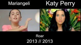 Katy Perry   Roar : 10 Year Old Mariangeli And Katy Perry Official (Side By Side)