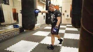Сильный одиночный удар отрабатываем самостоятельно на боксерском мешке