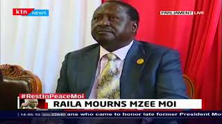 Raila Odinga condoles with Mzee Moi's family in Parliament