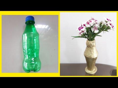 Plastic bottle reuse idea/Plastic bottle flower vase/Simple cement craft(173)