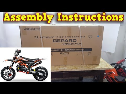 49cc Dirt Bike Cross - Gepard - Unboxing - Assembly Instructions - Video