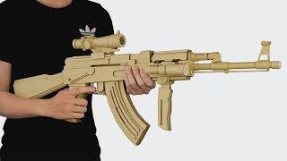 How To Make Cardboard Gun | Amzing AK-47 Gun That Shoots