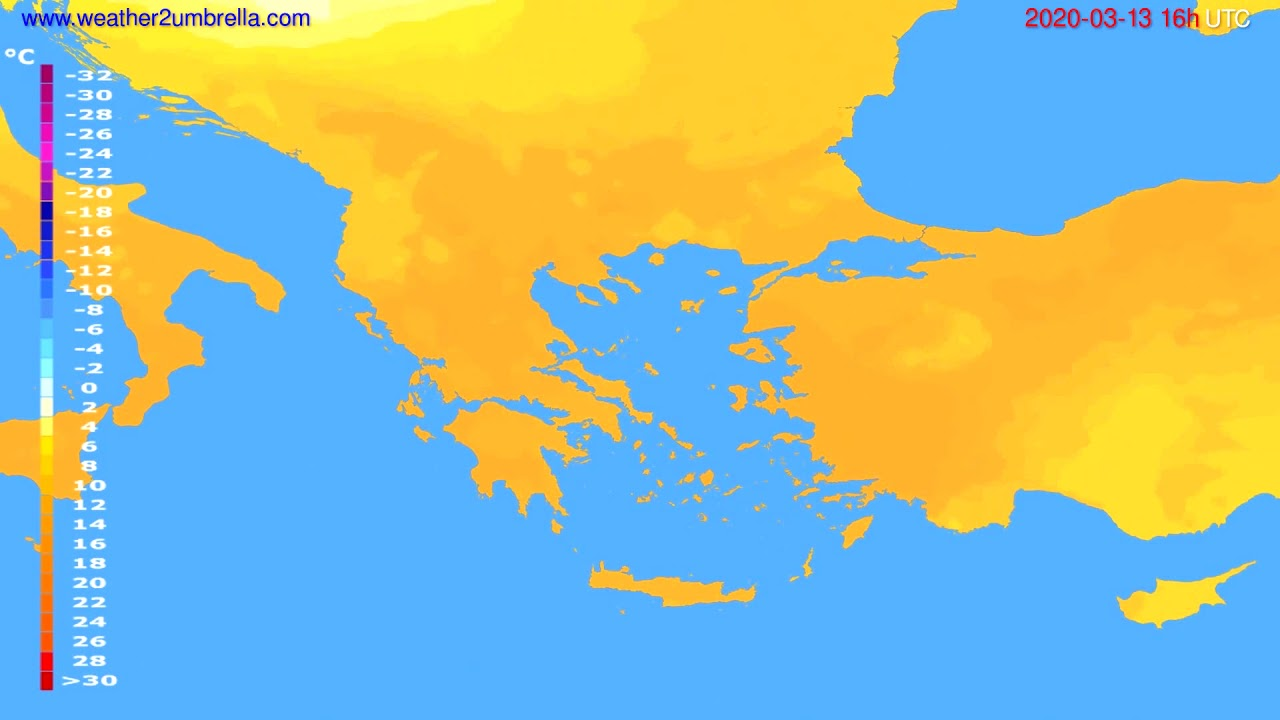 Temperature forecast Greece // modelrun: 12h UTC 2020-03-12