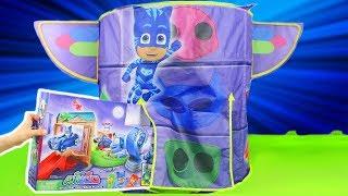 PJ Masks Unboxing: Spielzeugautos, Pyjamahelden Catboy, Gekko, Owlette im Zelt HQ für Kinder deutsch