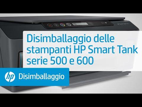 Disimballaggio delle stampanti HP Smart Tank serie 500 e 600