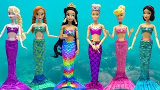 Disney Princess Mermaids Dress Up Barbie Frozen Makeover Jewelry Costume Slide Pool