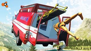 Beamng drive - Ambulance crashes with Dummy
