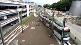 preview picture of video 'Universität Bielefeld Stadtbahn - Wendeanlage - Linie 4 - M8D - 07.07.2012'