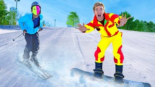 GAME MASTER TWINS TRAPPED ME! (Battle Royale High Speed Ski Chase)