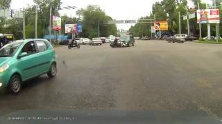 Car crash | Car accident (Dashcam) June 2016 #177 ДТП с мотоциклистом (Kazakhstan)