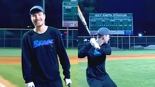 Mr Beast shows off his baseball skills