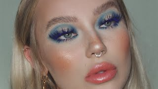 faux freckles, new foundation routine, soap brows & blue eyeshadow / full face makeup tutorial