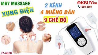 Video test máy massage xung điện 4 miếng dán trị liệu 2 điện cực JY-A828