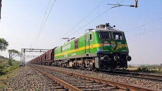 Indian Freight Train with 31796 Tughlakabad/ TKD WAG-9H Green Locomotive- Indian Railways