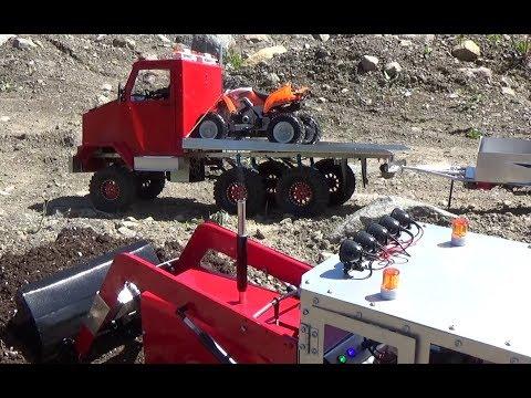 Rc Tractorrc Truck 6x6dump Trailerquad Raptor700r In Action