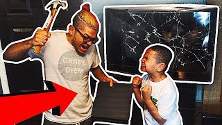 Destroying My Little Brother's GAMING SETUP WHILE HE'S PLAYING FORTNITE & Surprising Him w/ NEW ONE