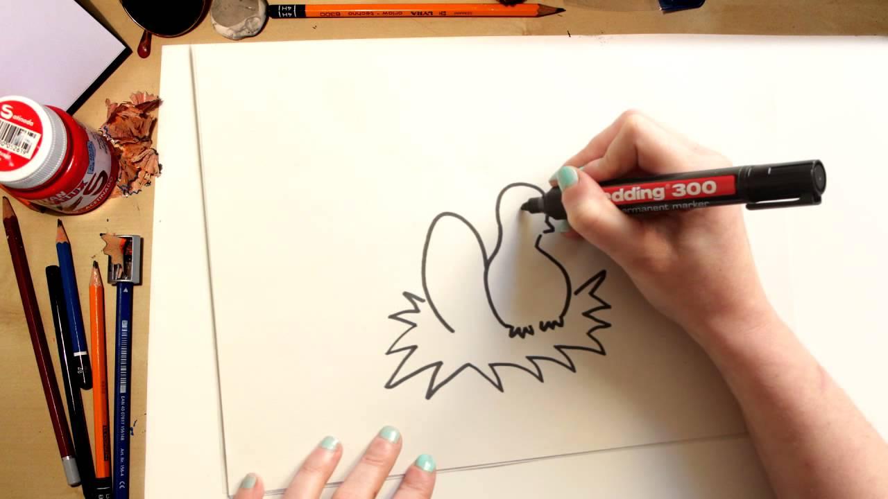 Como desenhar um Pintinho de Páscoa - desenhos para crianças