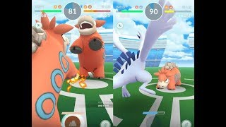 【Pokemon GO】神獸洛奇亞與第三代寶可夢噴火駝道館對戰及收服隆隆岩! [精靈寶可夢GO]