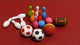 Kawaii Eraser From Japan - Bowling Set, Soccer Ball, Baseball & Basketball