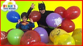 SURPRISE TOYS GIANT BALLOON POP CHALLENGE Batman vs Superman Disney Cars Toys Thomas and Friends
