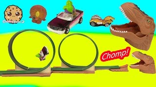 Chomping Mouth Dinosaur Dino Double Loop Race Car Track with Shopkins - Toy Video