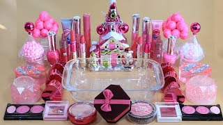 """""""PINK Christmas"""" Mixing""""PINK""""Makeup,More Stuff&glitter Into slime! Satisfying Slime Video."""