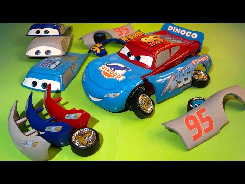 Disney pixar cars Lightning mcqueen race and change dinoco lightning mcqueen primer cars 3