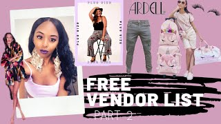 FREE VENDOR LIST Part 2 | 20+ Free Vendors